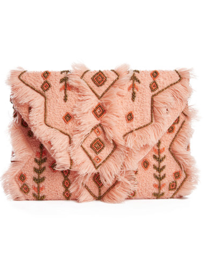 Frayed & Beaded Clutch