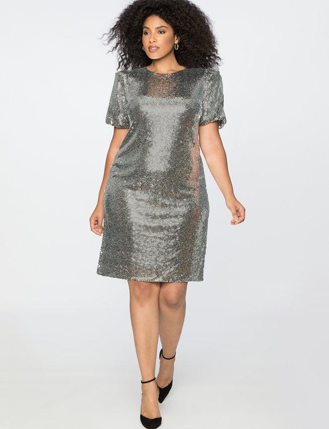 Puff Sleeve Sequin Dress, Eloquii.
