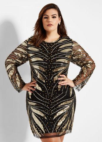 Feather Sequin Dress, Ashley Stewart.