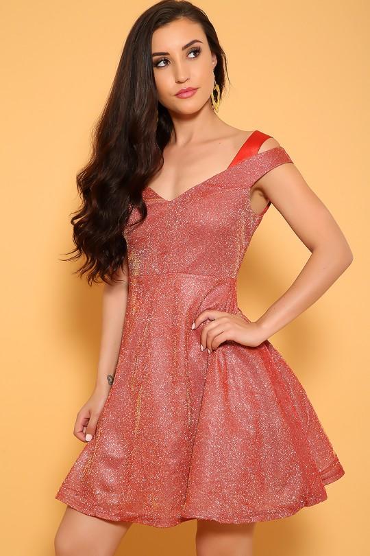 Shimmery A Line Dress, AMIClubwear.