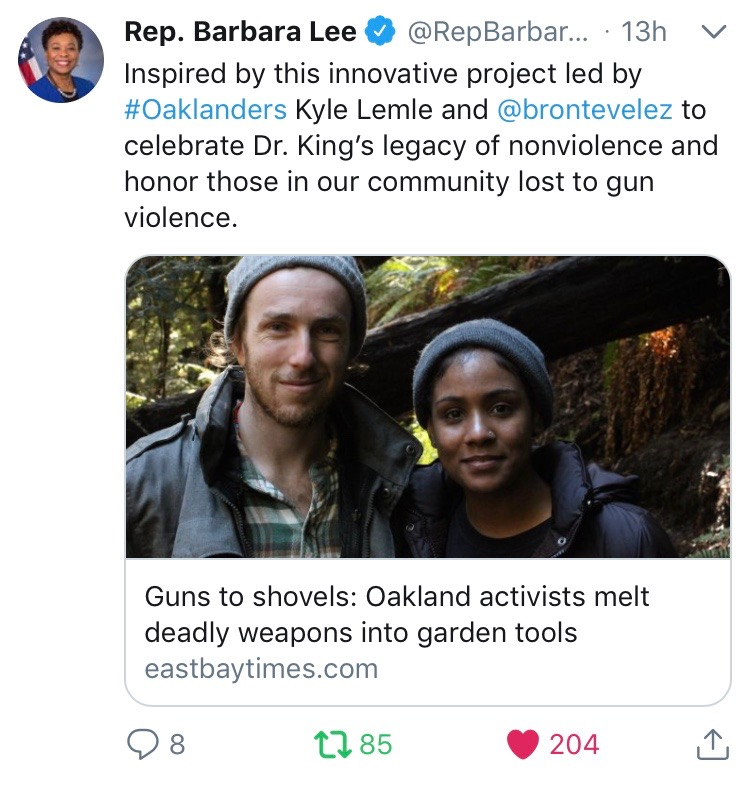 California Rep. Barbara Lee shares about our work on Twitter - Mar 2018