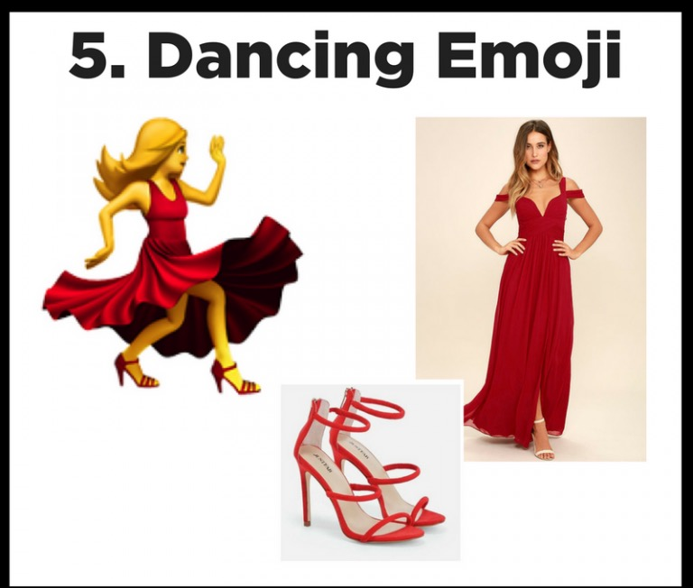 Text Me! - This is our favorite emoji and an easy costume to show of your dancing spirit. Red dress, red heels, grace, and grooves will bring this icon to life.