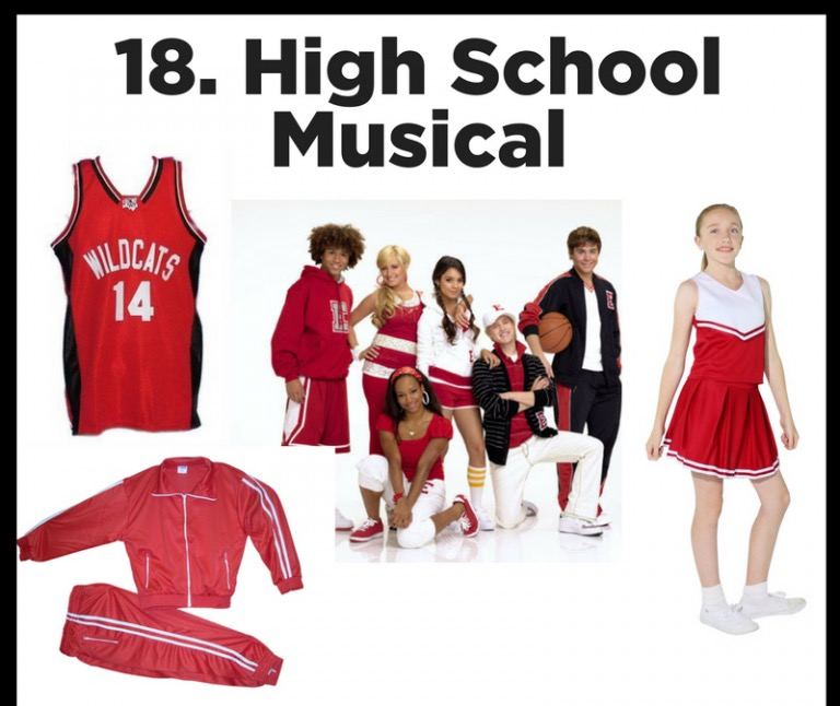 WILDCATS! - We have this outfit in bulk! Make a team costume of Wildcat Cheerleaders!  A red and white cheerleader skirt for the girls and basketball jersey fro the boys!