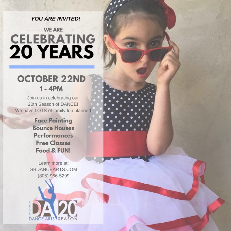 LET's PARTY! - Bring your family to celebrate 20 years of inspiration and community! This FREE event is for the whole family. Free classes, performances, face painting, bounce houses and visits from Moana and Elsa will make this day magical for all ages!