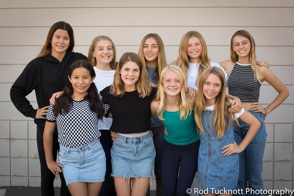 IMPACT  Back Row: Violet Heyman-Fratus, Mia Cannizzaro, Stella Zoltan (Captain), Olivia Barker, Rose Barton Front Row: Camila Cornejo, Presley O'Hearn, Fallon Seder-Erickson, Avery Mahan