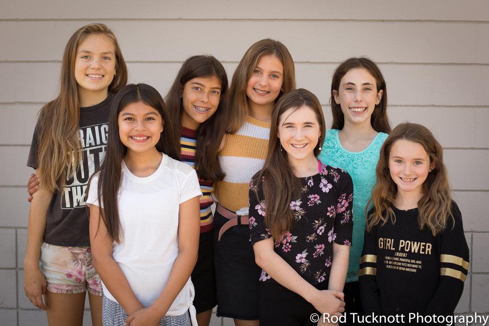 EMERGE  Back Row: Mia Kirsch, Livia Tuttle (Captain), Cynthia Erickson, Sydney Copus Front Row: Sage Ruiz, Alyssa Warner, Madison Transki