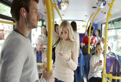 people riding bus