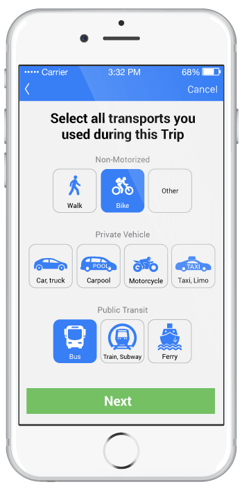 smartphone screen showing travel modes