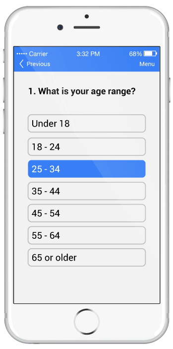 smartphone screen showing questionnaire
