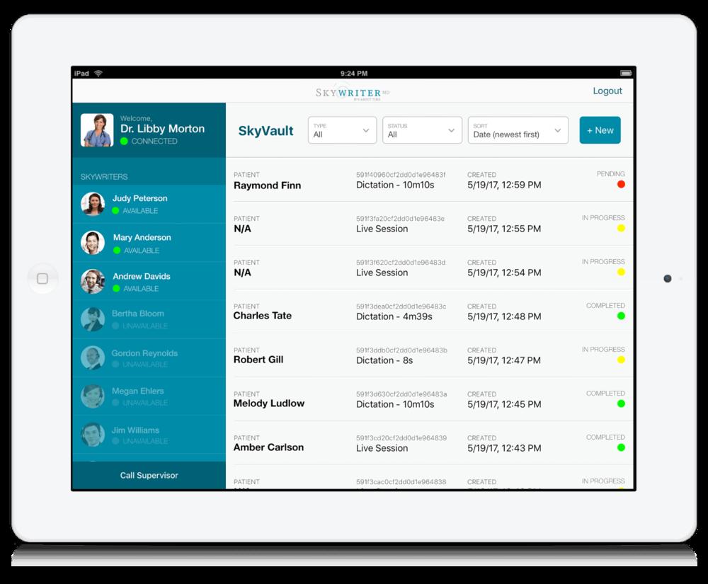 skywriter interface iPad