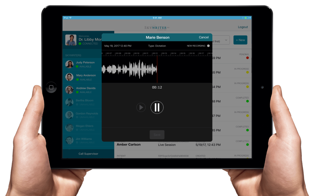 Health providers can make voice recordings of what needs to be captured, so a Virtual Scribe can transcribe that later.