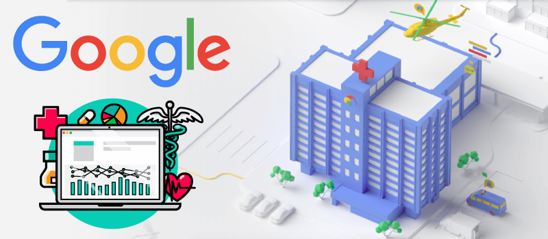a hospital with the Google logo