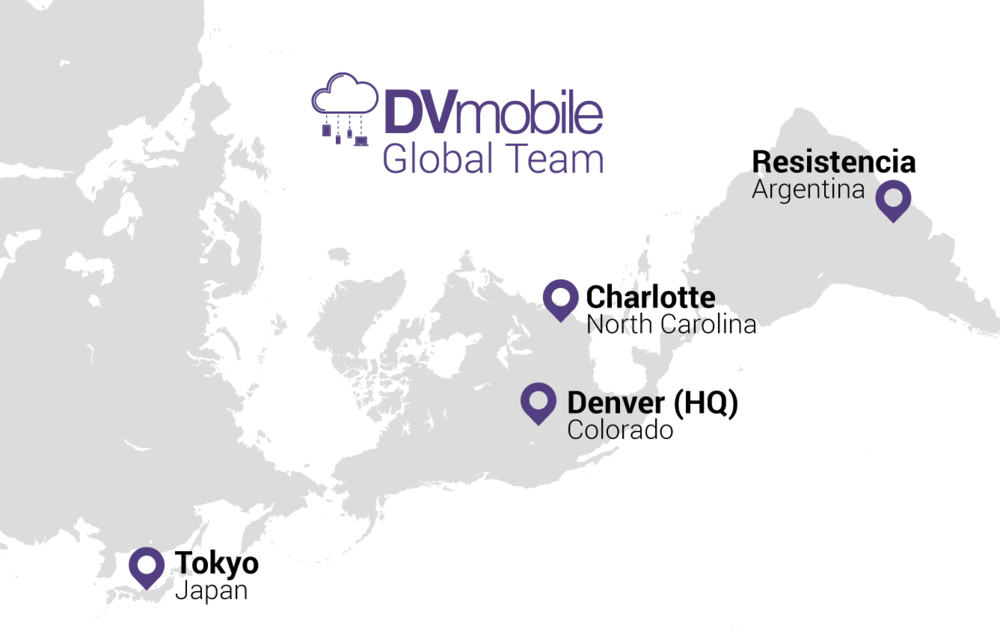 map showing locations of the DVmobile team
