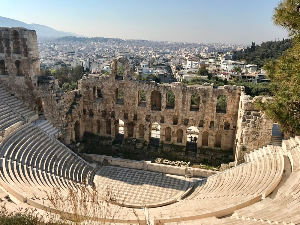 The Oden of Herodes Atticus- This guy build this stadium in the memory of his wife, swoon!