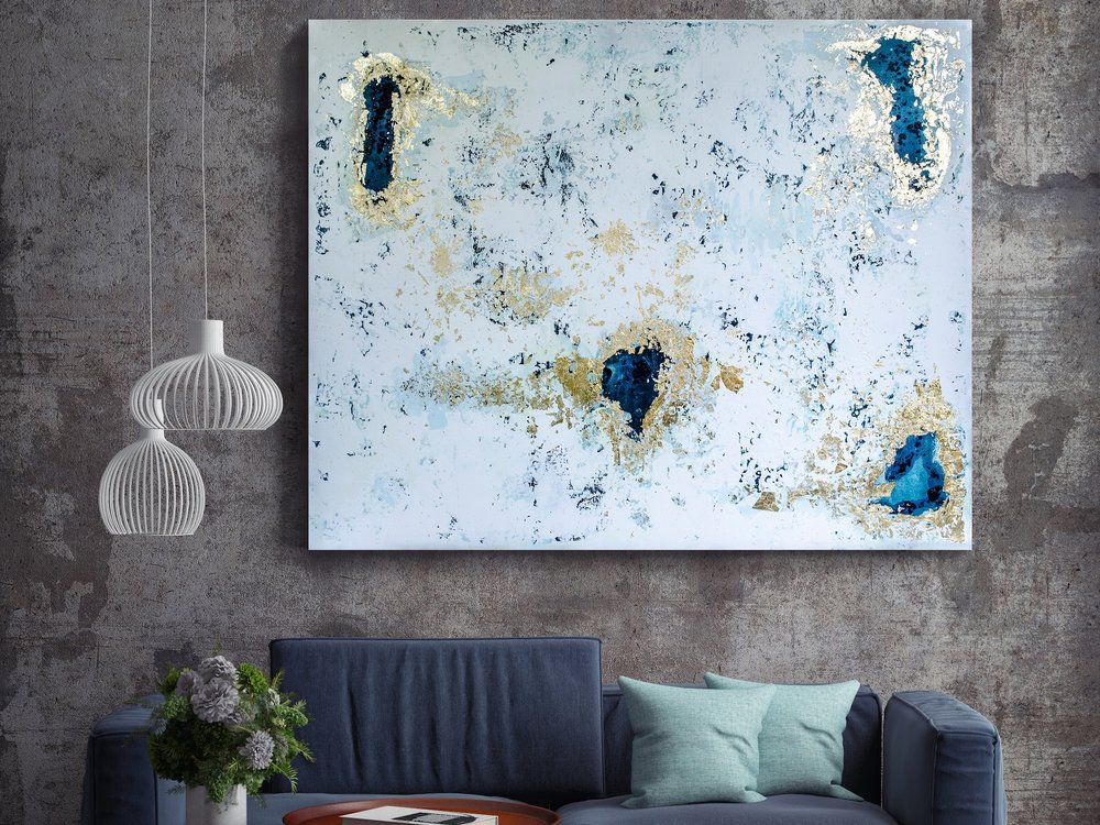 "Frost. Sold. 60x48"". Acrylic and gold foil on canvas."