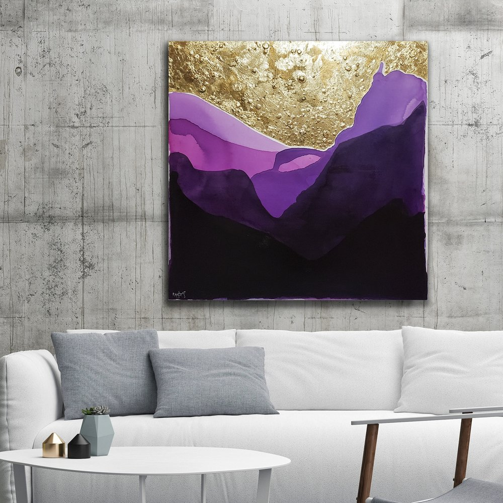 "Under the Stars   $450. 36x36"". India ink and gold foil on gallery wrap canvas. 2018."