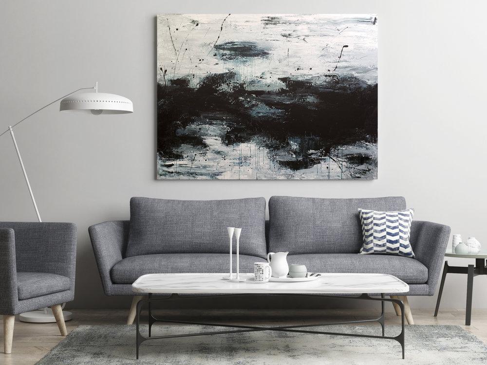 "Static. $600. 36x48"". Acrylic on Canvas."