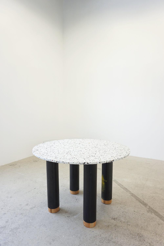 seminato table. terrazzo, steel, solid oak