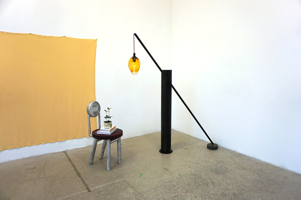 iustitia lamp. steel, blown glass, concrete
