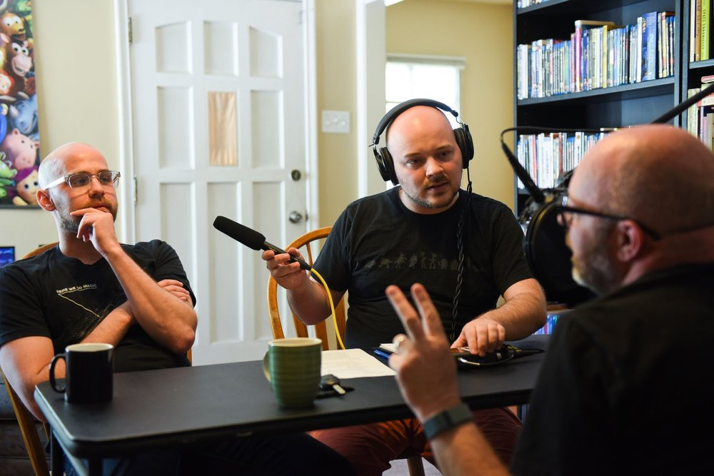 """Recording an episode of """"What Say Ye?"""" with colleague Court Mann (left) and guest Justin Hackworth in 2016."""