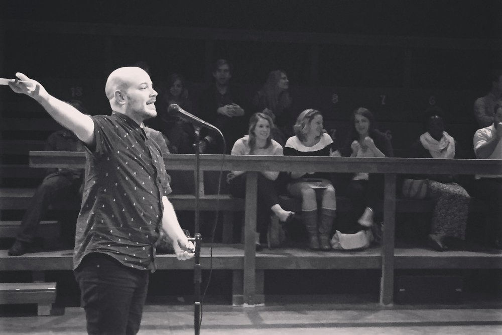 Hosting The Porch storytelling show in Salt Lake City, Utah in 2015.
