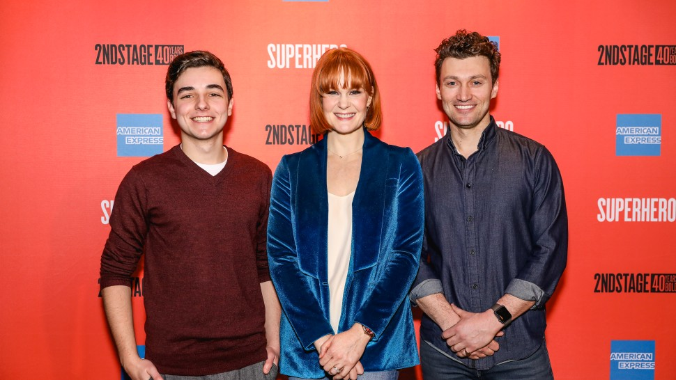 (From left) Kyle McArthur, Kate Baldwin and Bryce Pinkham star in  Superhero.