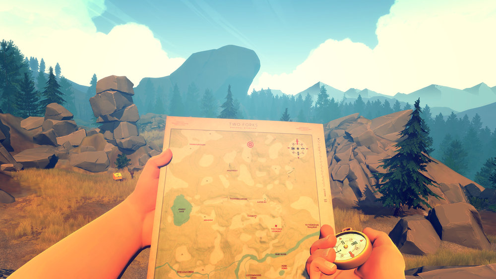 In  Firewatch , players walk through a Wyoming national park.