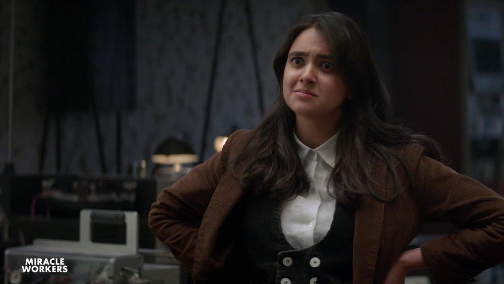 Geraldine Viswanathan plays Eliza in  Miracle Workers  on TBS.