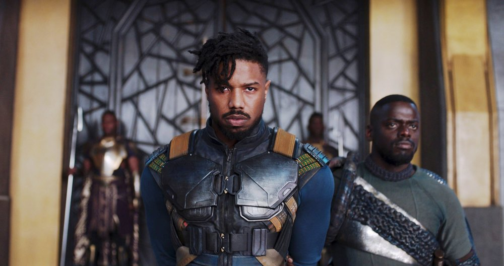 Michael B. Jordan (center) and Daniel Kaluuya star in  Black Panther.