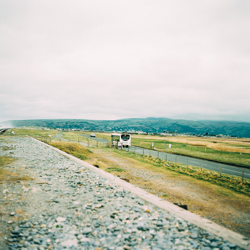 Bus leaving Borth