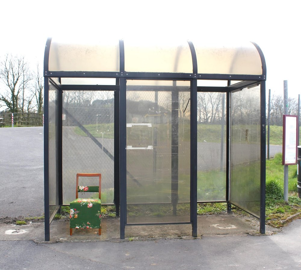 Bus shelter chair at Glangwili