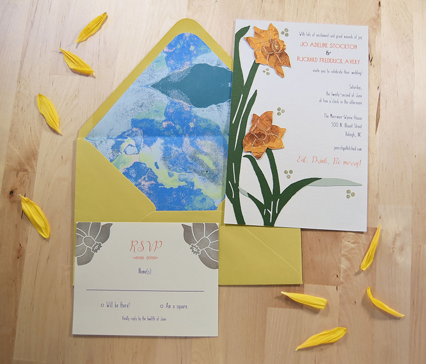 Daffodils All Asway Invitation Set from Pip's Paperie