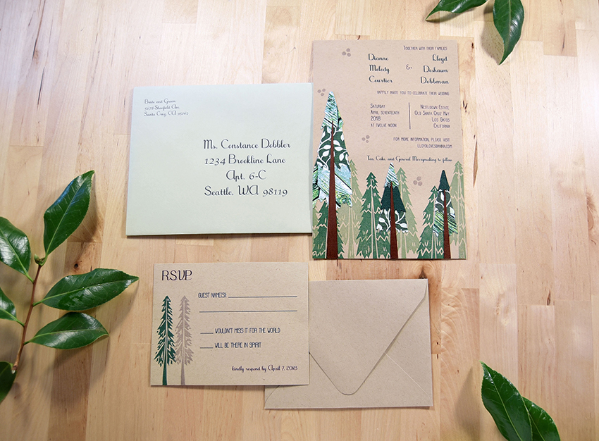 Everlasting Redwood Invitation Set from Pip's Paperie