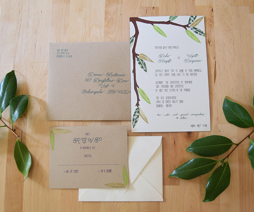 Spring Leaves Invitation Set from Pip's Paperie