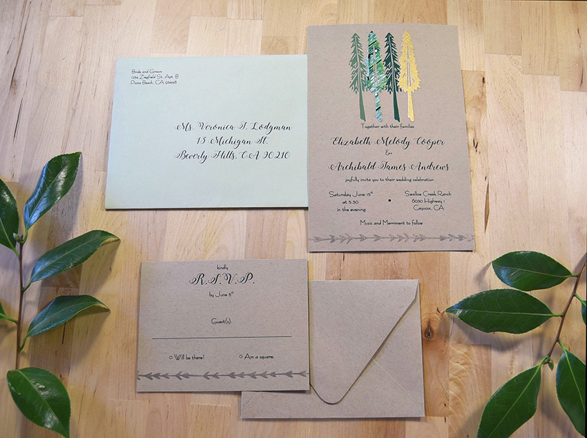 Young Evergreen Invitation Set from Pip's Paperie