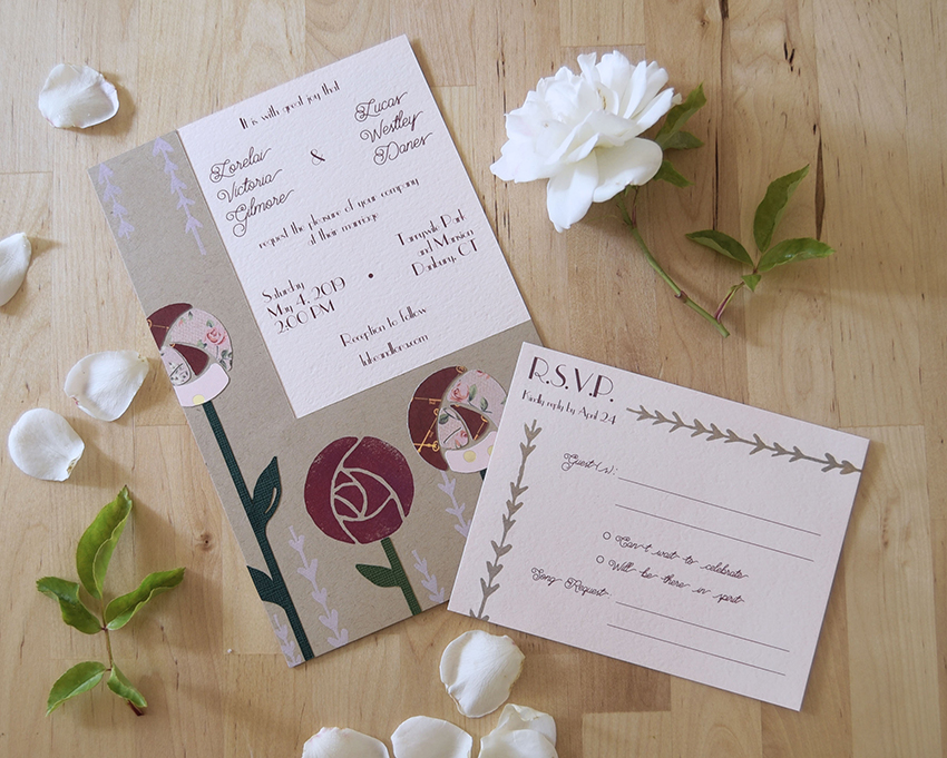 Charming Garden Rose Invitation Set from Pip's Paperie
