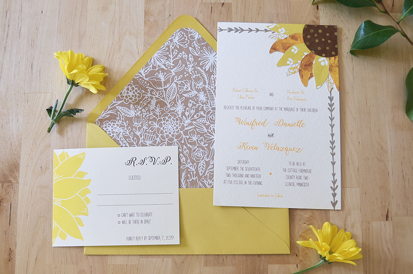 happy happy sunflower invitation set deposit pip s paperie