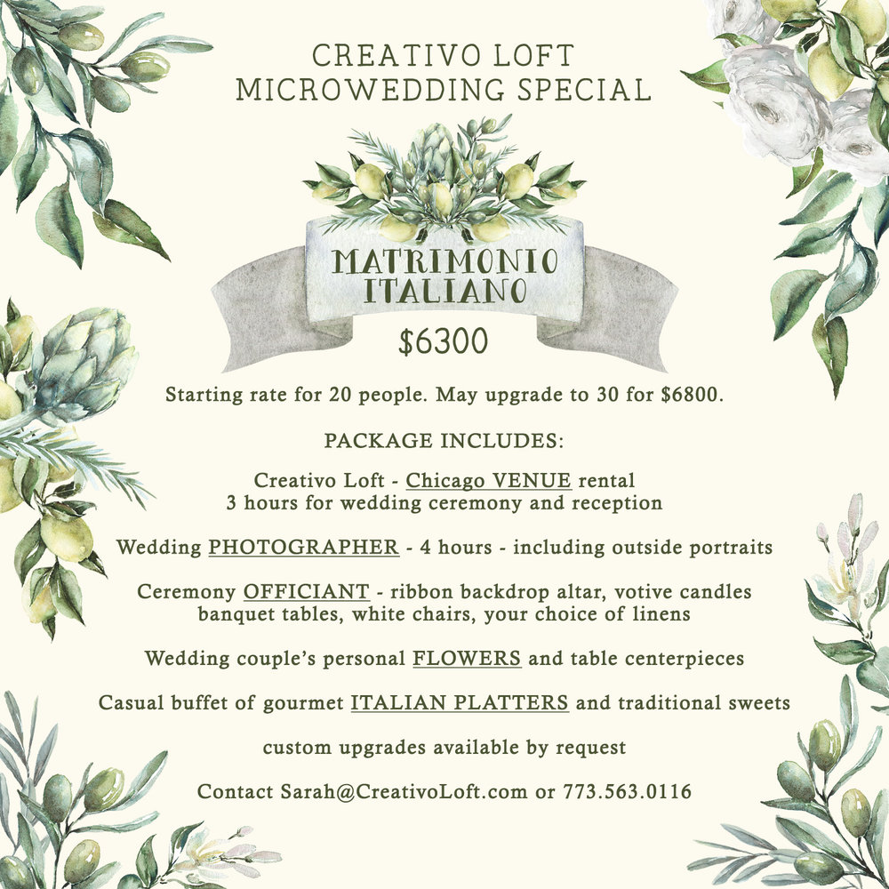 Creativo Loft Chicago Microwedding Package Matrimonio Italiano
