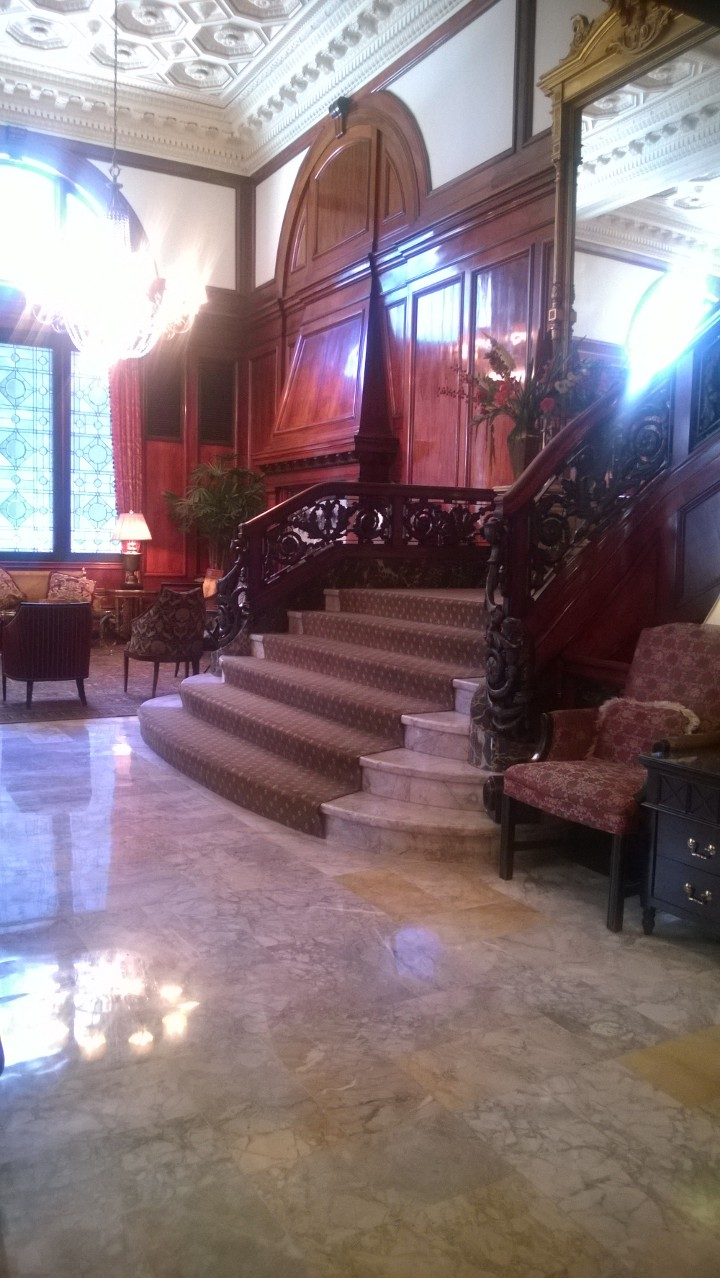 The marble and iron staircase at the Benson Hotel