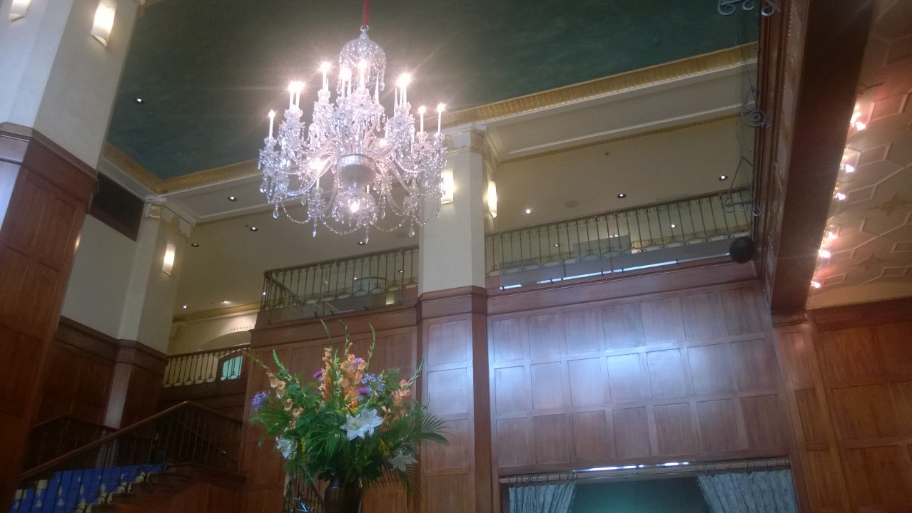 Chandelier and wood paneling at The Heathman