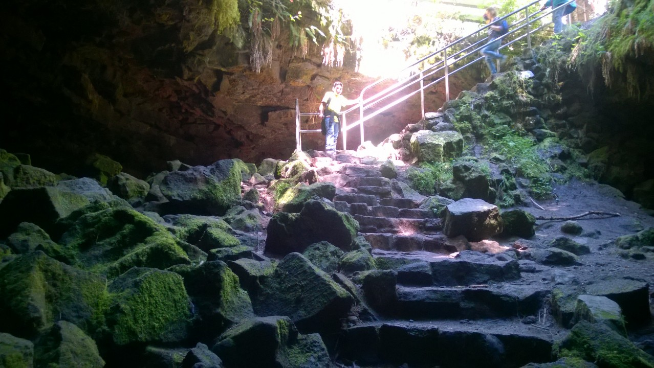 The entrance to the Ape Caves. There are crude stairs, and moss.
