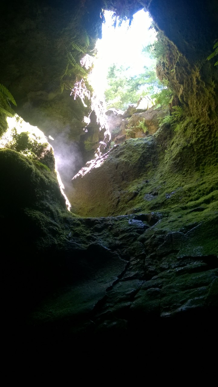 The one skylight in the caves bring light down to show off the mist and moss.
