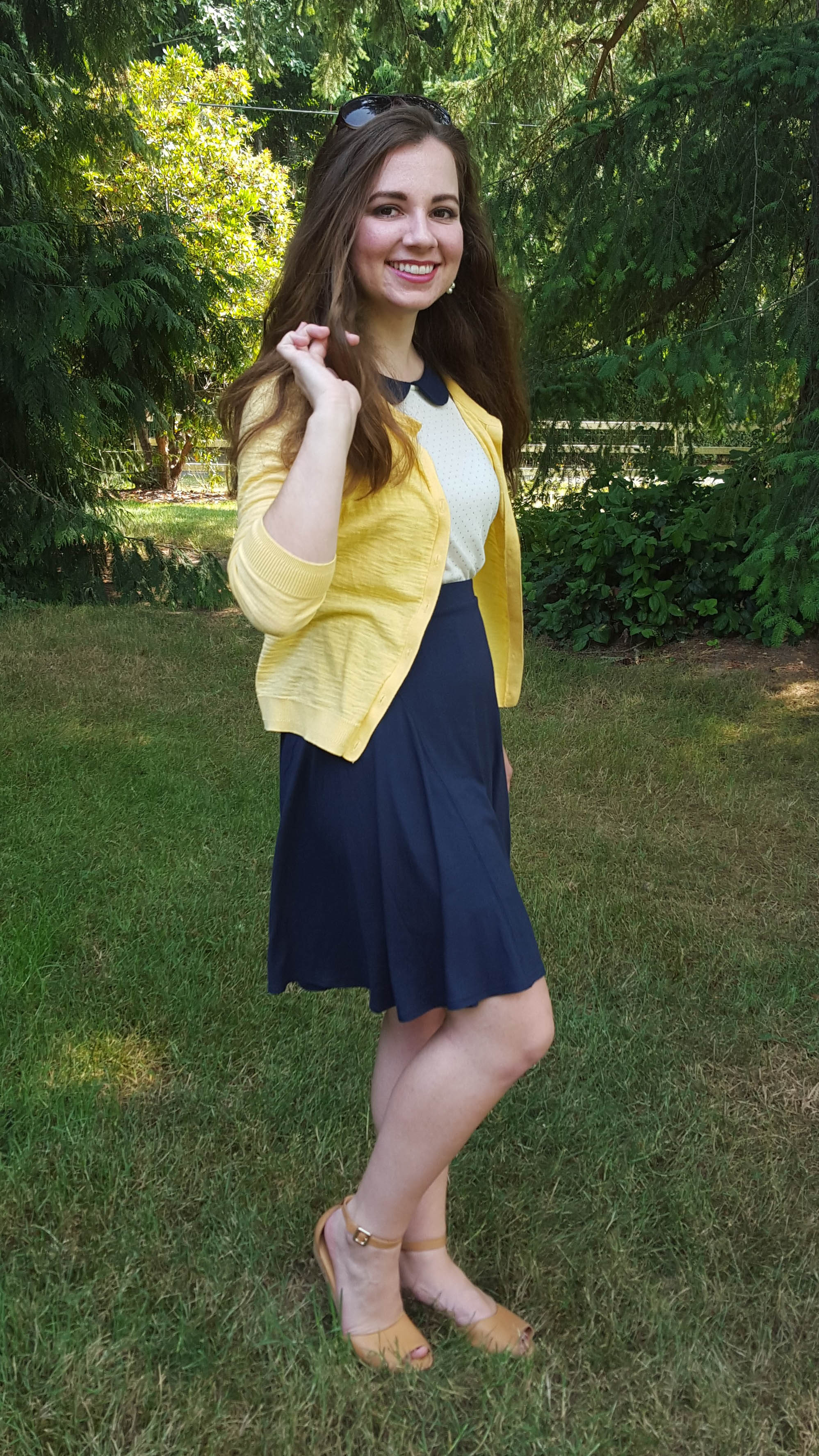 Northwest Pearls: Yellow, Cream, and Navy OOTD