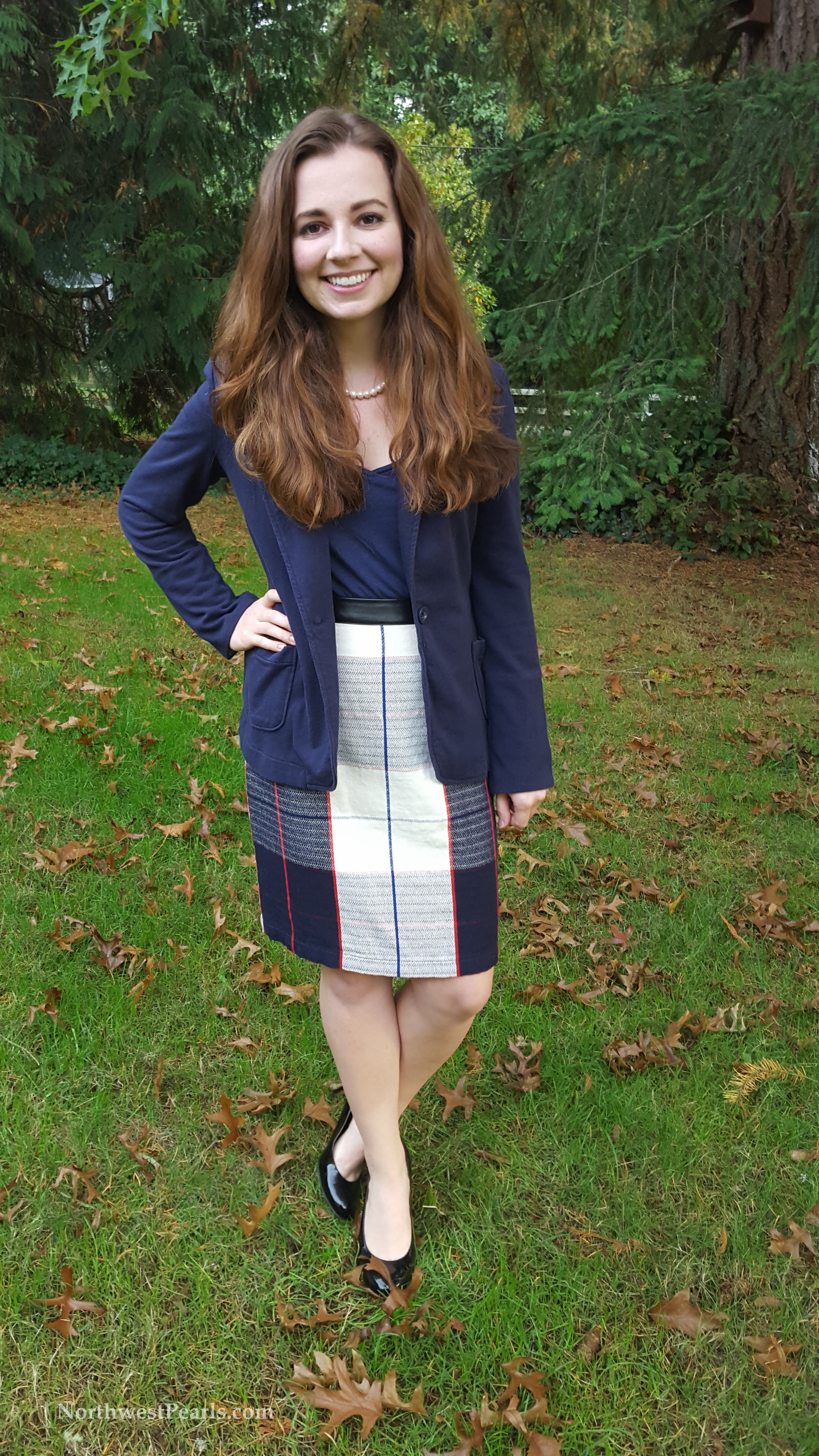 Northwest Pearls: Navy and Plaid