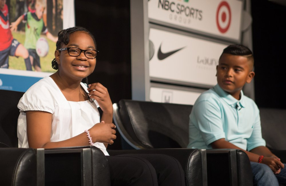 Nina Locklear, 11, of Baltimore, told 2017 Project Play Summit attendees about the importance of coaches.