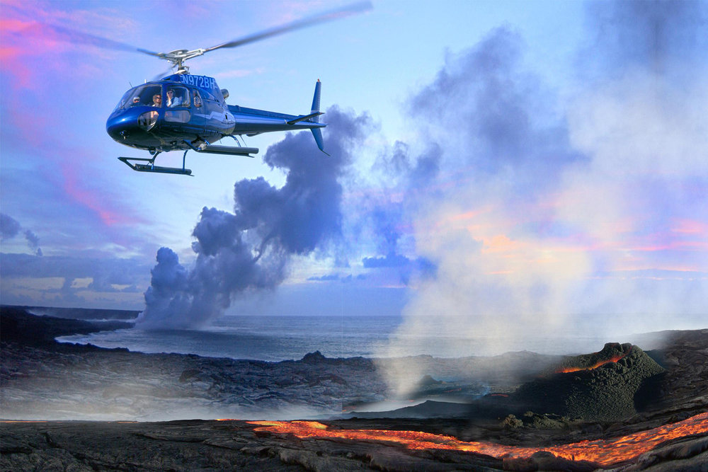 Blue Hawaiian Helicopter over volcano