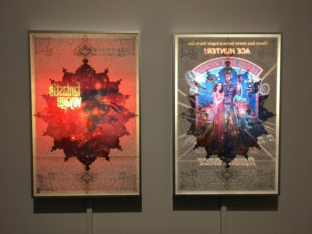 Ala Ebtekar, Fantastic Voyage, 2014. Acrylic and archival pigment print on found paper in light box.