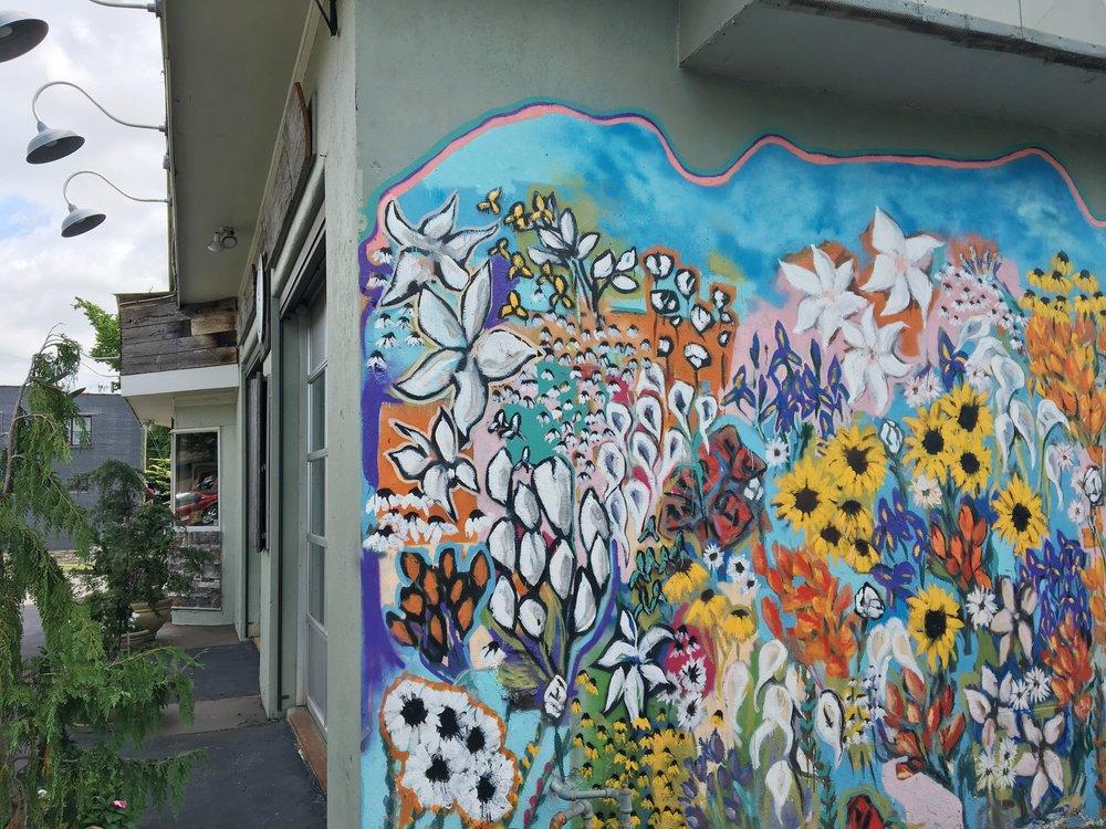 Mural outside of Green Pea Salon