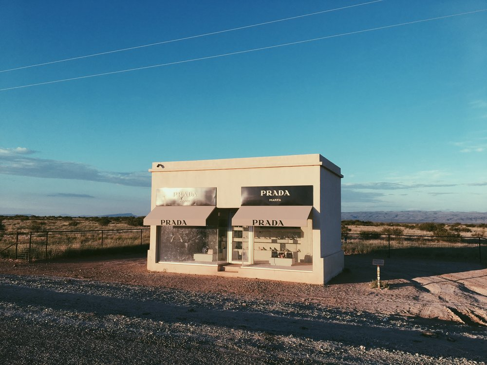 Elmgreen & Dragset,  Prada, Marfa , installation piece, established October 1, 2005.