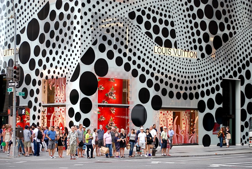 Yayoi Kusama installation and collaboration with Louis Vuitton